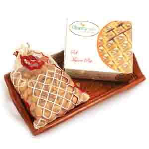 Diwali Hampers-Small Wooden Tray with Soft Mysore Pak, and Almonds