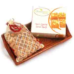 Diwali Hampers-Small Wooden Tray with Besan Barfi, and Almonds