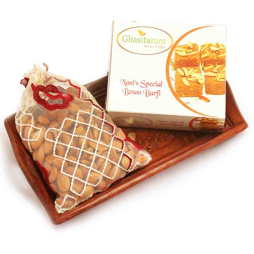 Small Wooden Tray with Besan Barfi, and Almonds