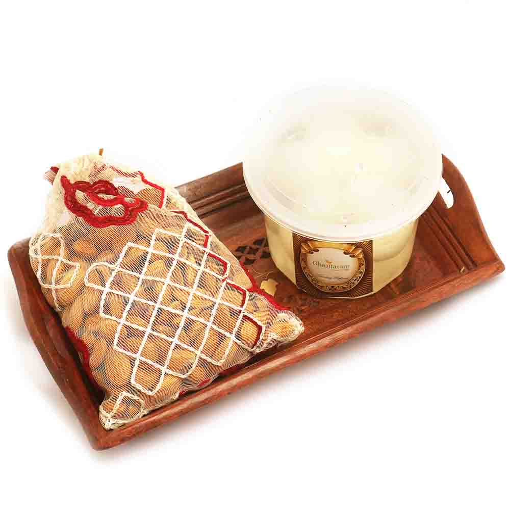 Small Wooden Tray with Rasgullas, and Almonds