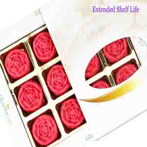 Diwali Mithai Boxes-Diwali Gifts Sweets Strawberry Roses 12 pcs