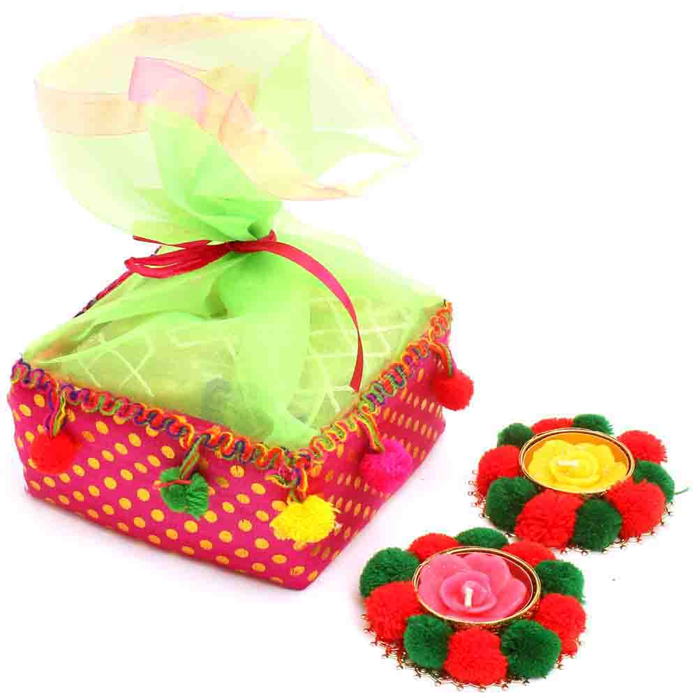 Diwali Mithai Boxes-Colourful Roasted Almond Bites Pouch with 2 T-Lites