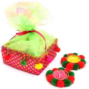 Diwali Mithai Boxes-Colourful Granula Bites Pouch with 2 T-Lites
