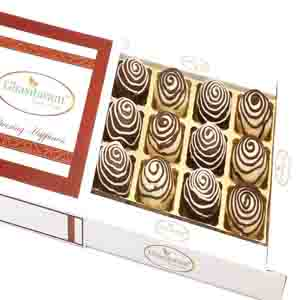 Diwali Mithai Boxes-Chocolate Galaxy Cashew Laddoos in White box