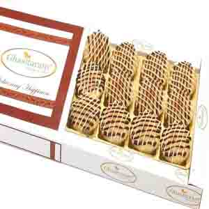 Diwali Mithai Boxes-Baked Almond Anjeer Chocolate Biscuits in White Box