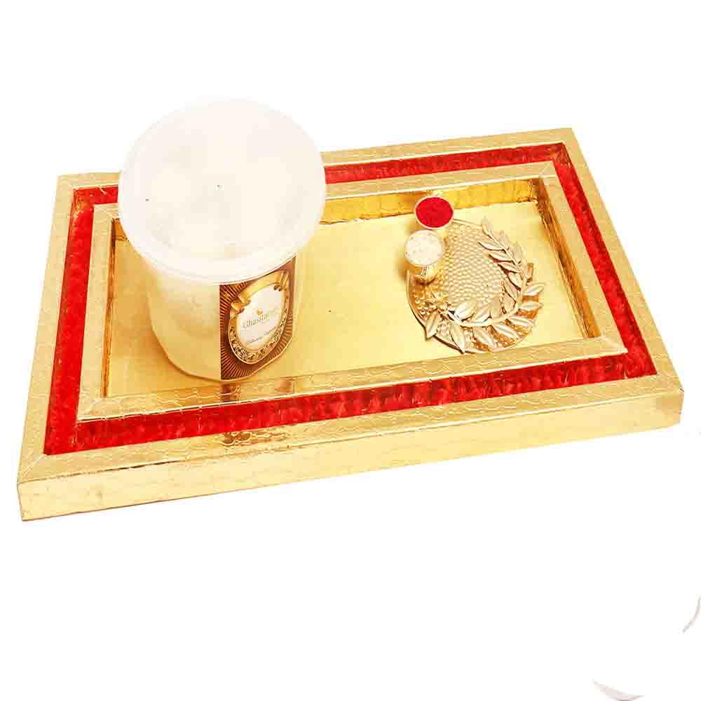 Red and Gold platter With Rasgullas and Lotus Pooja Thali