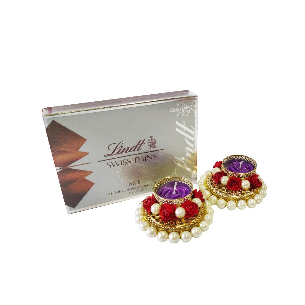 Lindt Thins Silver Box With 2 Tlight
