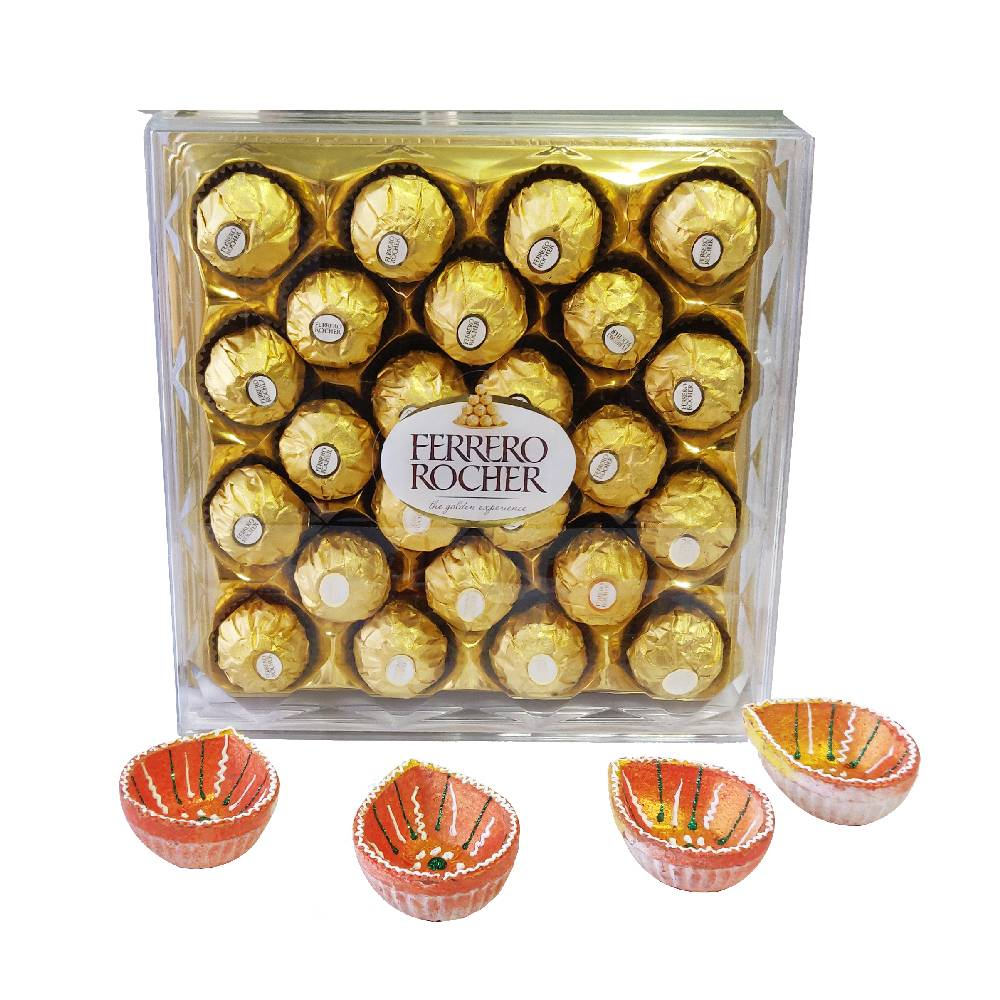 Diwali Hampers-24 Pcs Ferrero Rocher With 4 Diyas