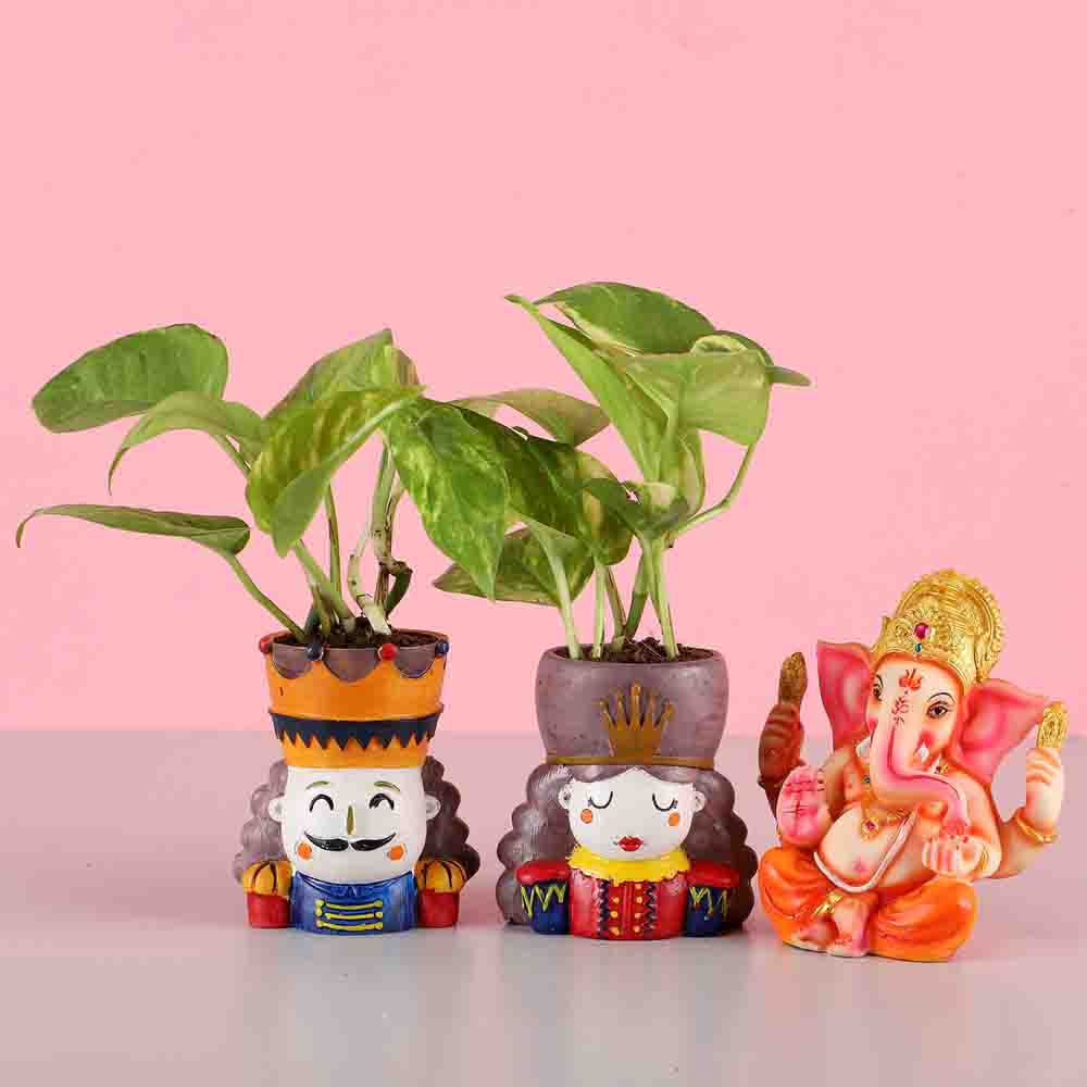 Money Plant Set & Lord Ganesha Idol