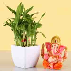 Diwali Hampers-Two Layer Lucky Bamboo With Ganesha Idol