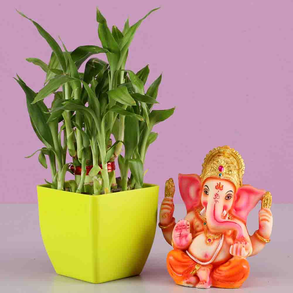 2 Layer Bamboo & Lord Ganesha Idol