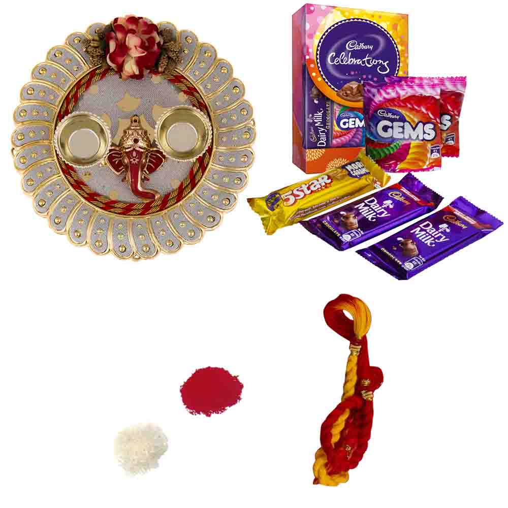 Bhai Dooj Golden Thali with Cadburys Celebrations