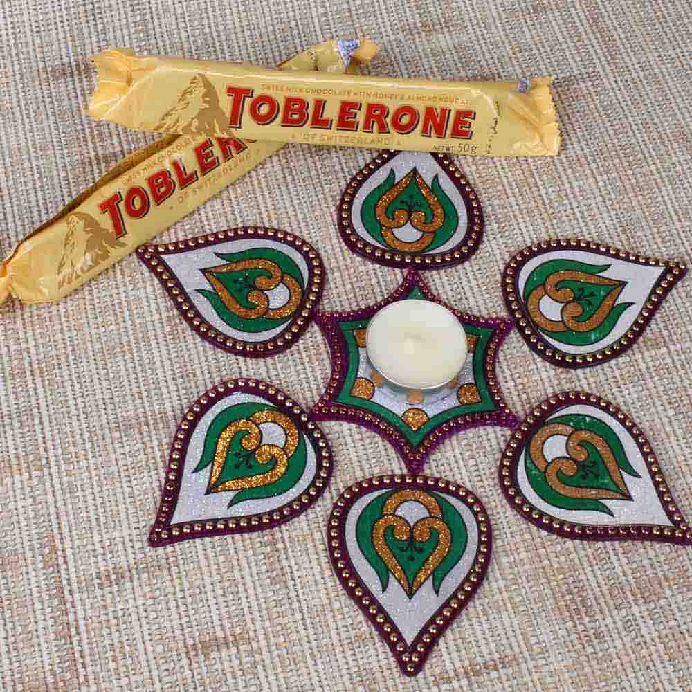 Toblorone Chocolate with Modak Shape Rangoli
