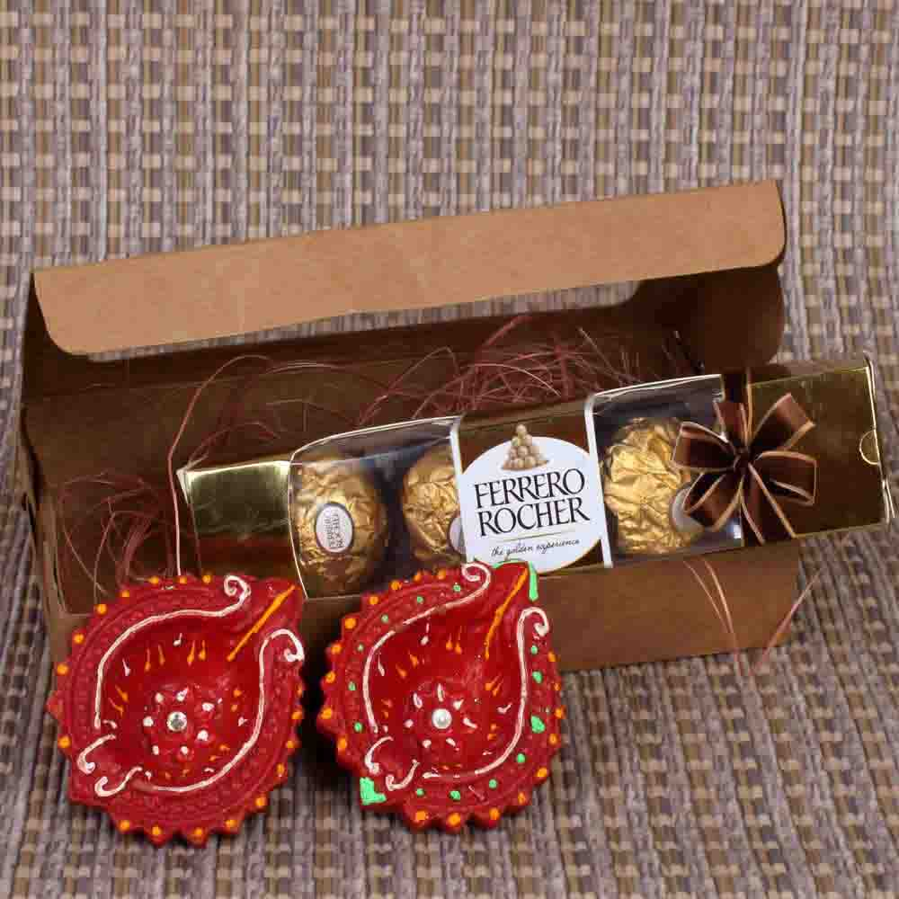 Rocher with Diya Hamper