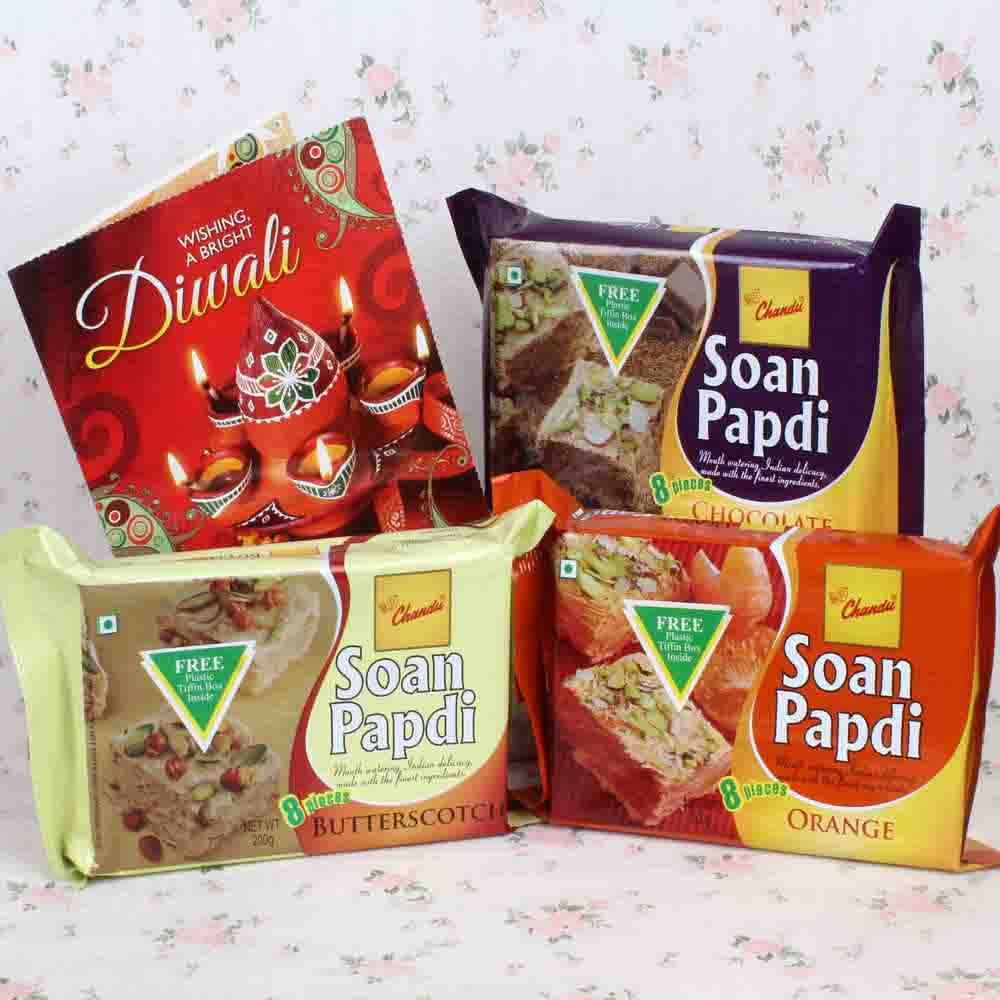 Soan papdi Hamper with Diwali Greeting Card