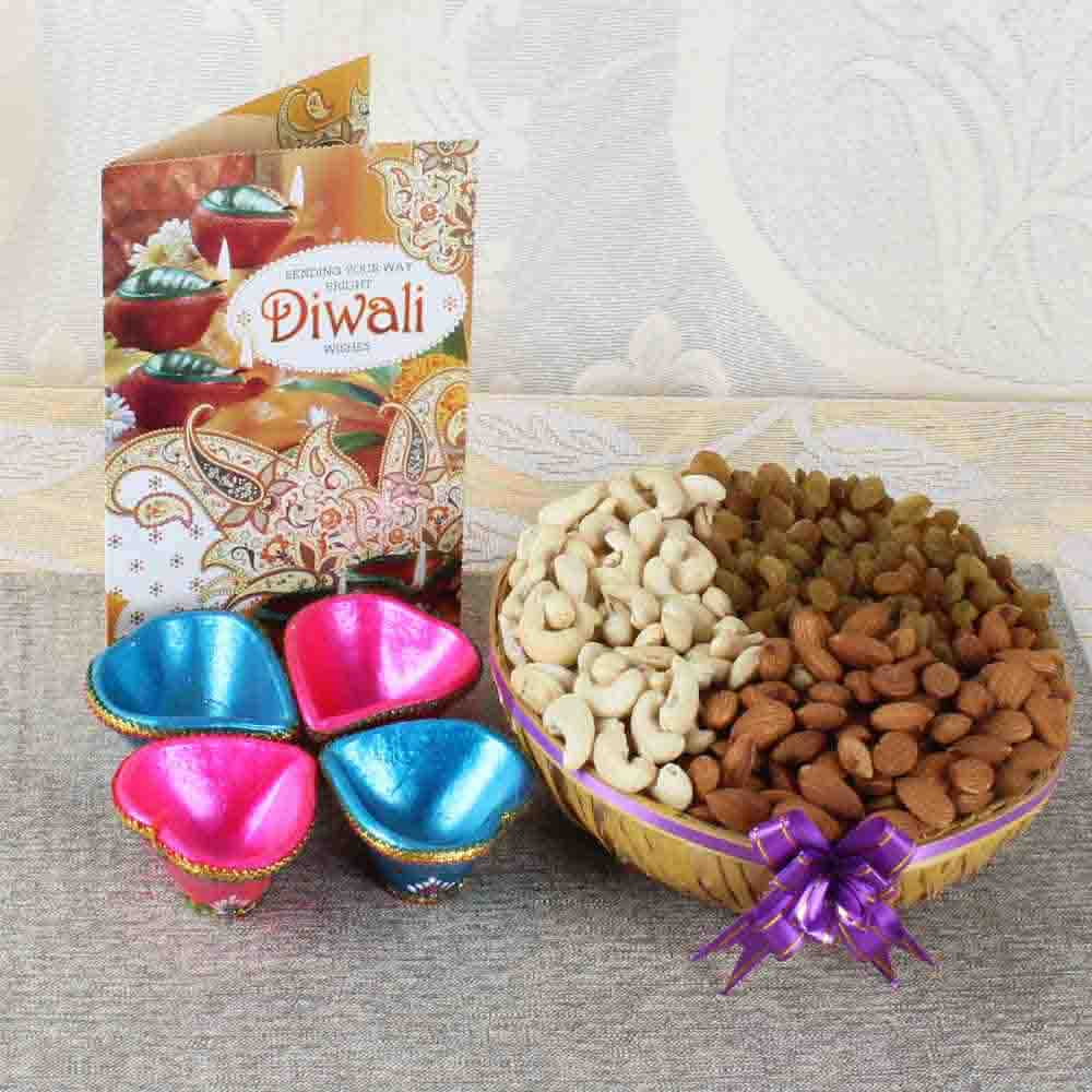 Earthen Diya with Dry Fruits and Diwali Card