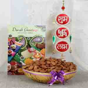 Diwali Hampers-Shubh Labh Hanging with Almond and Greeting Card