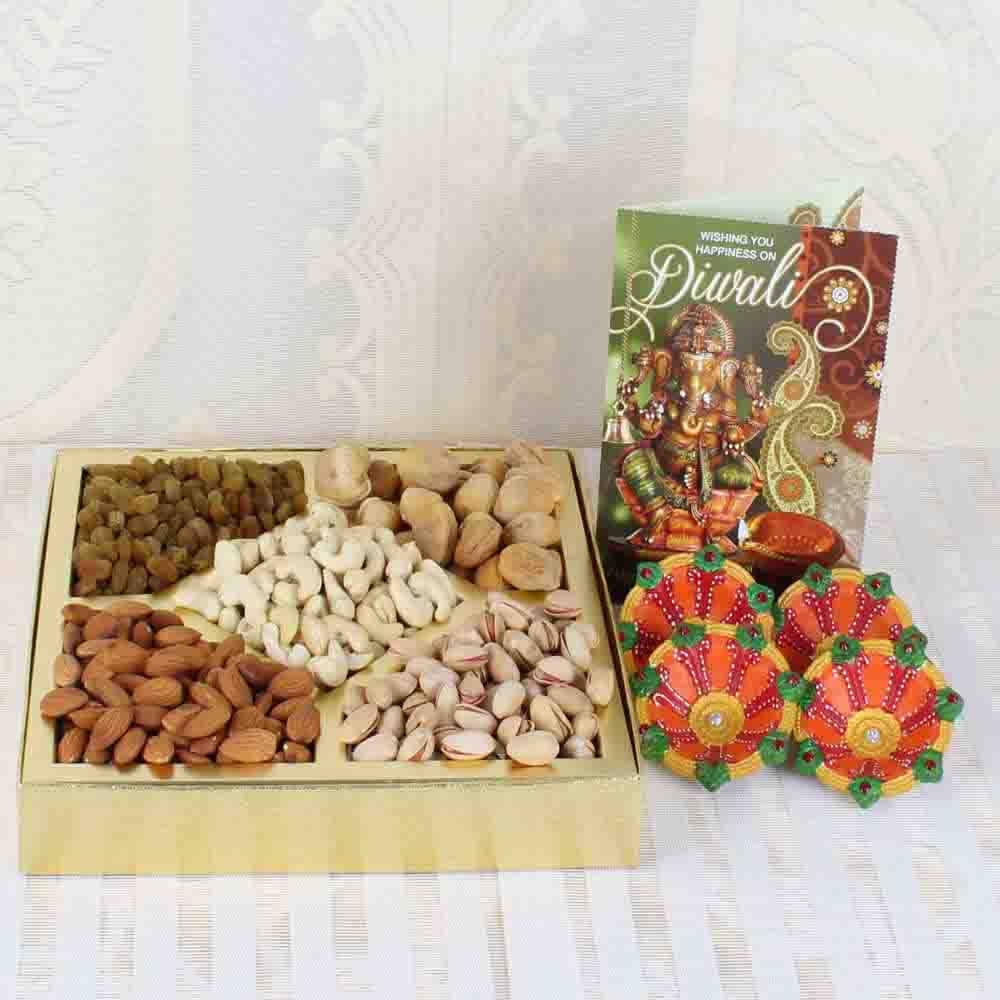 Tasty Nuts with Diwali Card and Earthen Diya