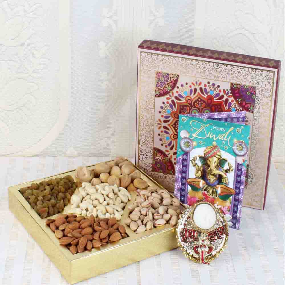 Shubh Labh Diya with Dry Fruits and Diwali Card