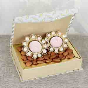 Diwali Hampers-Pearl Metal Diya with Almond Box