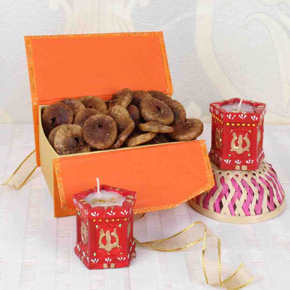 Fig Dry Fruits Box with Tulsi Earthen Diya