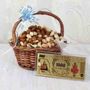 Diwali Hampers-Assorted Dry Fruit Basket with Gold Plated Note