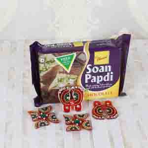 Diwali Hampers-Chocolate Soan Papdi with Diwali Accessories