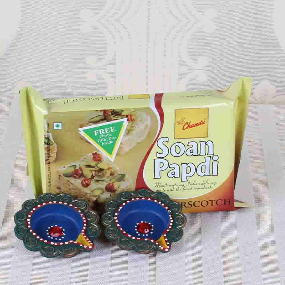 Butterscotch Soan Papdi with Earthen Diya