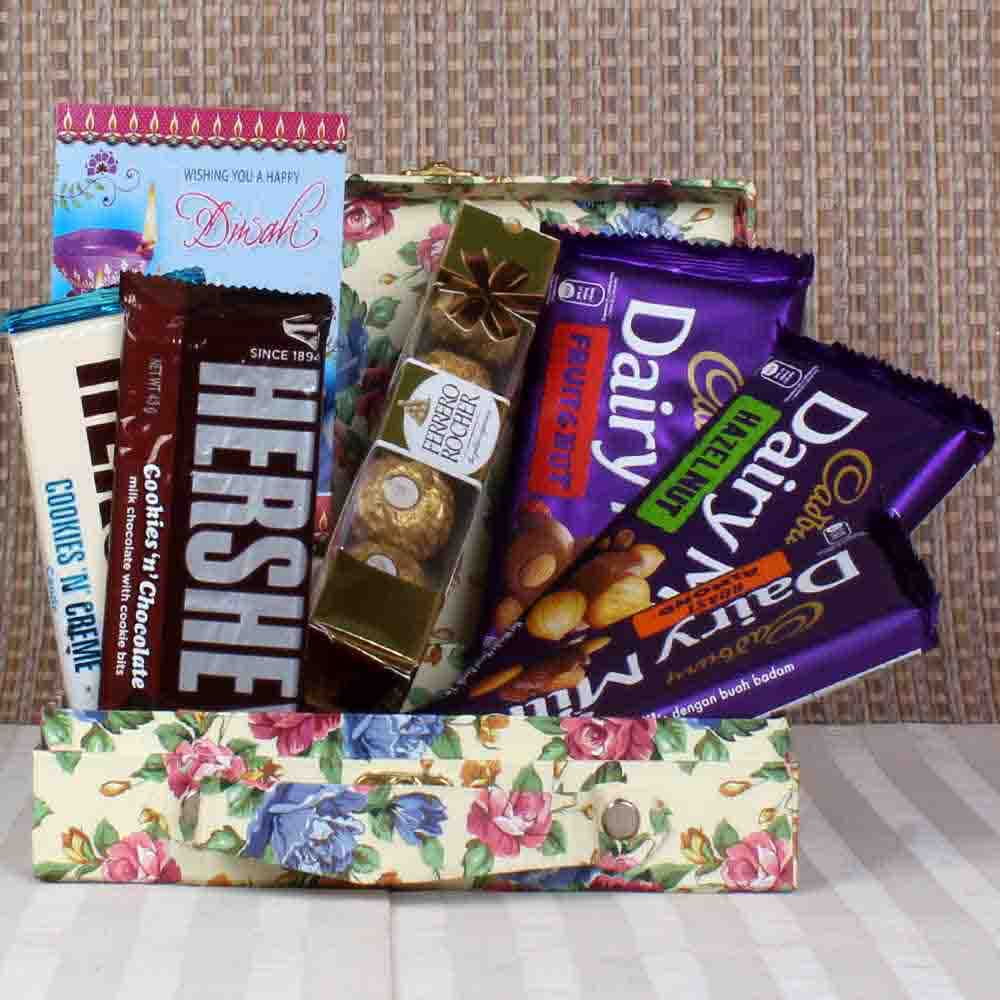 Dairy Milk and Hersheys and rocher hamper