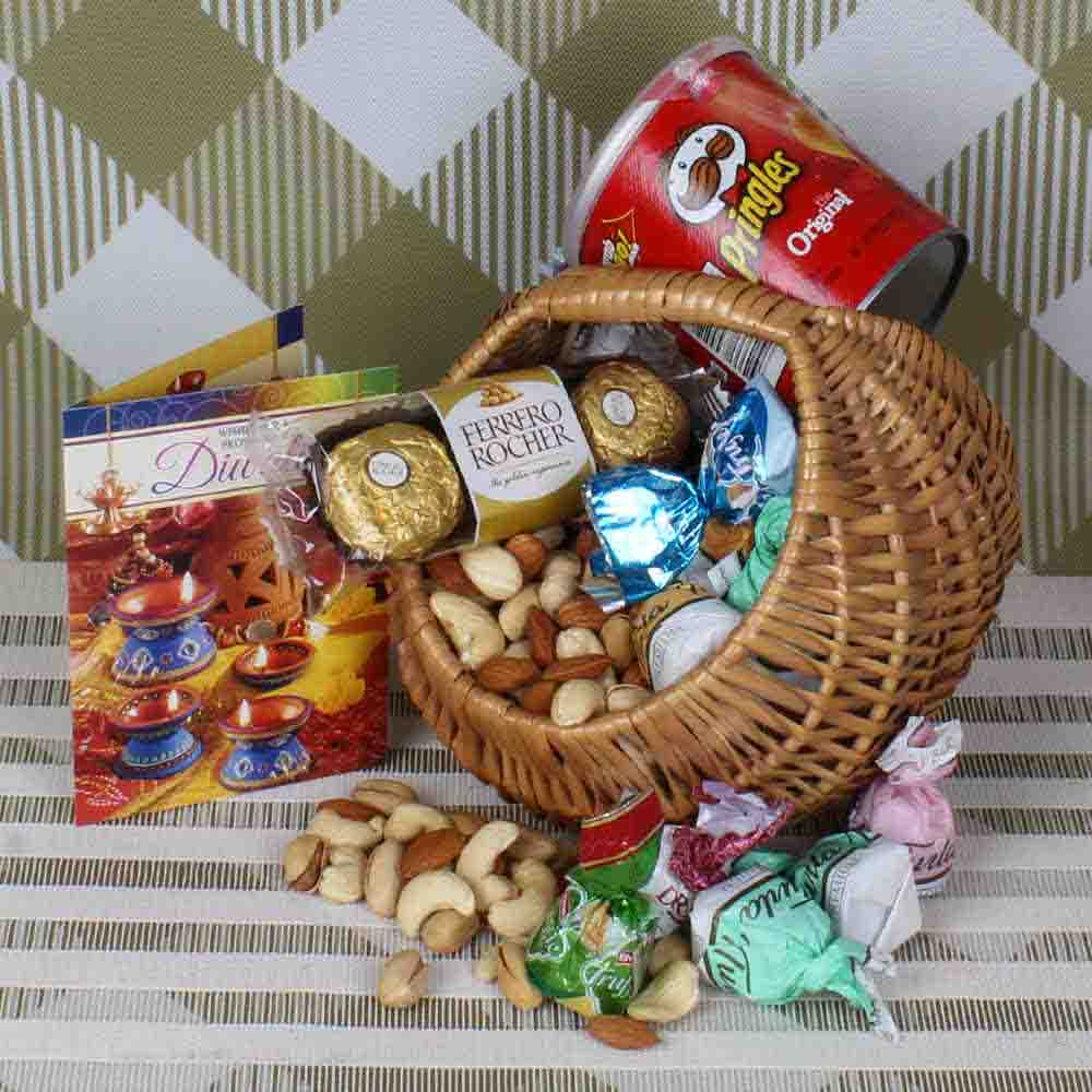 Dryfruit and chocolate basket hamper
