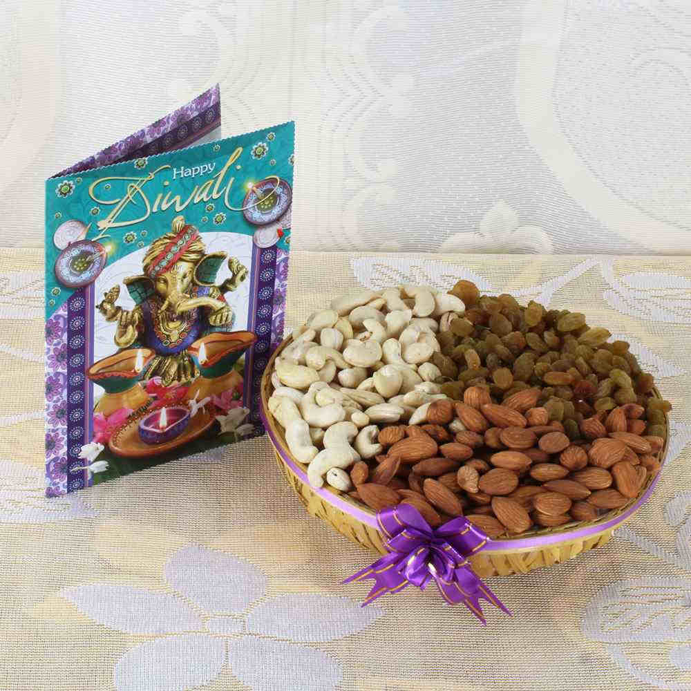 Assorted Dry fruit Basket with Diwali Greeting Card