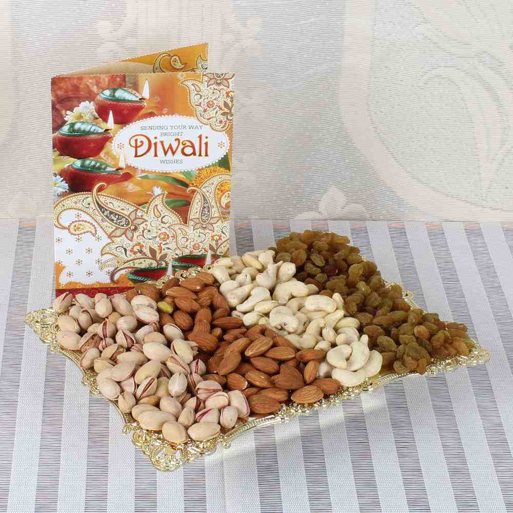 Diwali Greeting Card with One Kg Assorted Dry fruit