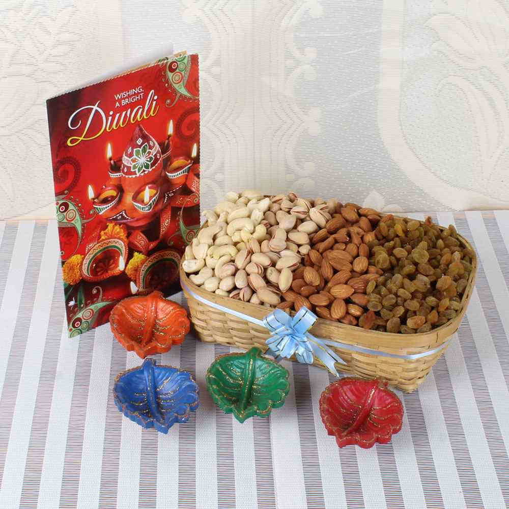 Assorted Dry fruit Basket and Four Diyas