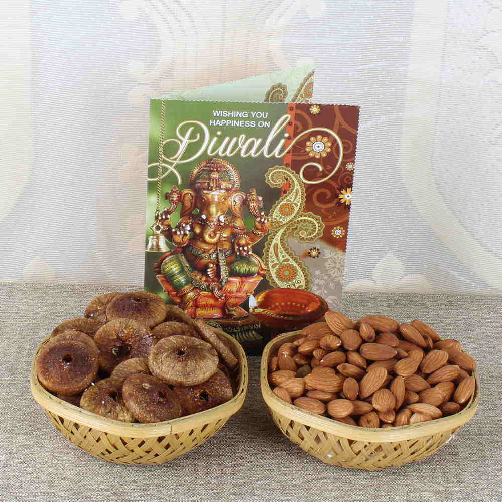 Dry Fruits-Diwali Dry fruit Basket with Greeting Card