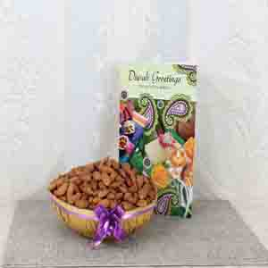 Dry Fruits-Almond Basket with Diwali Greeting Card