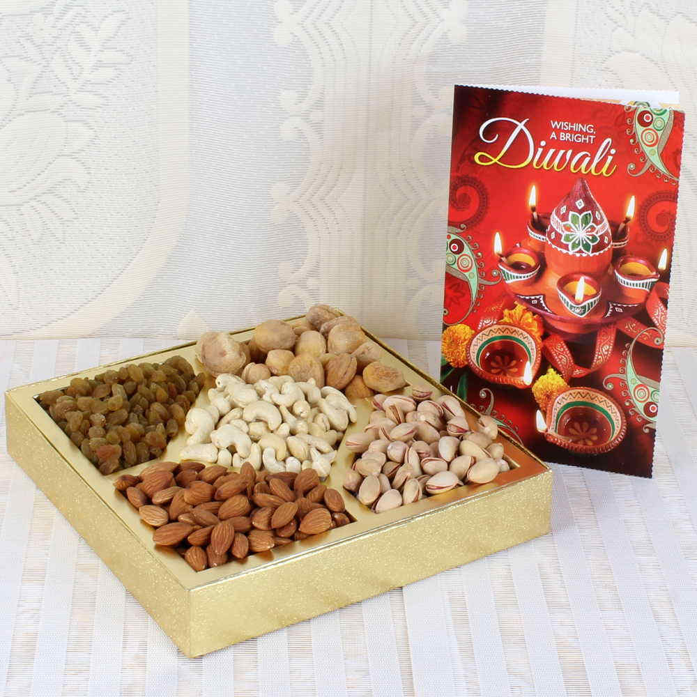Dry Fruits-Diwali Assorted Dry fruit Box with Greeting Card