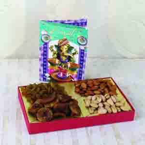 Dry Fruits-Assorted Dry fruit Box with Diwali Greeting Card