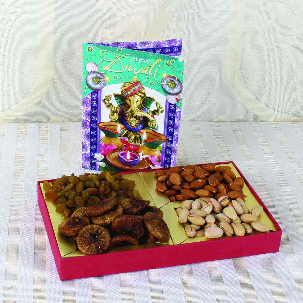 Assorted Dry fruit Box with Diwali Greeting Card