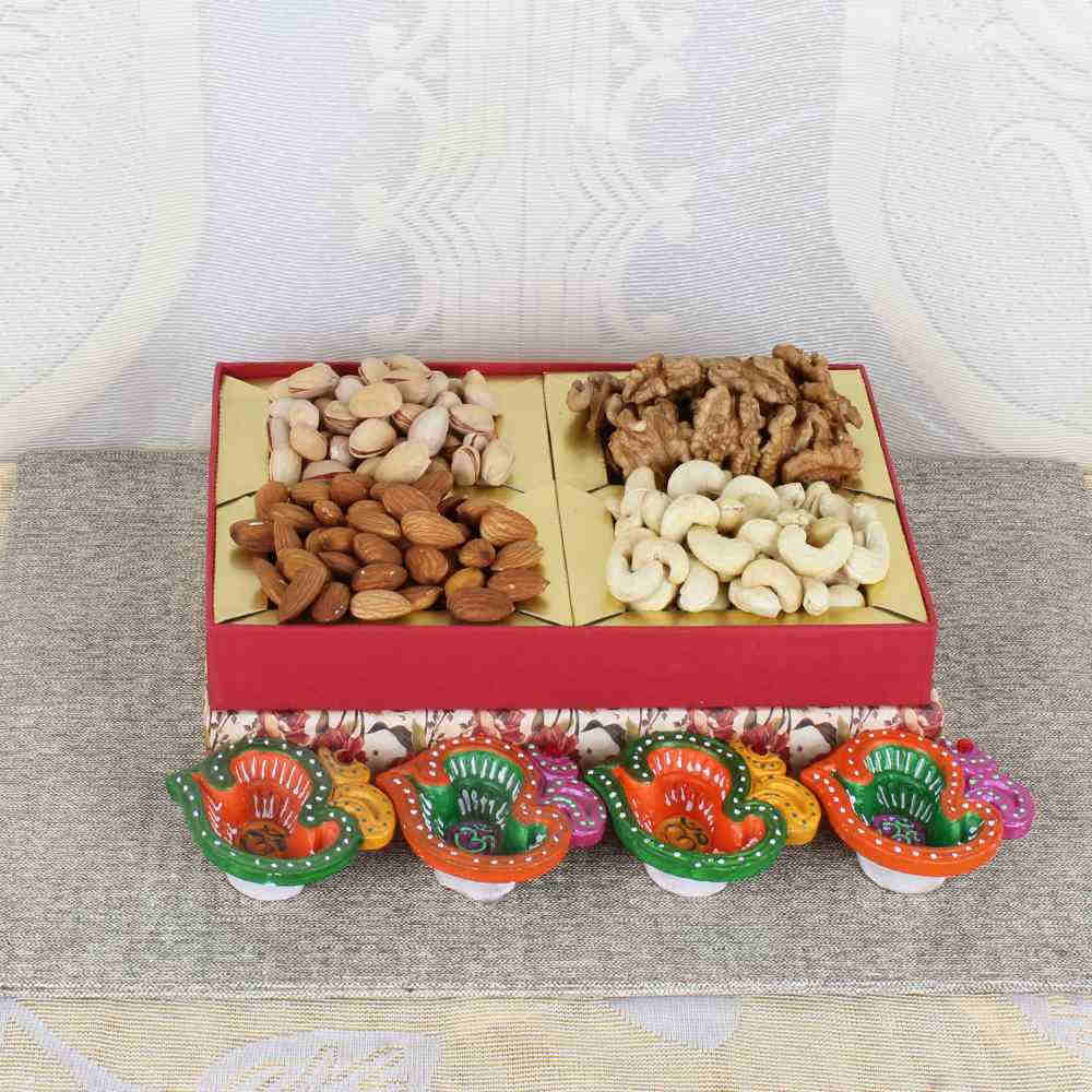 Diwali Dry fruit Box with Earthen Diyas