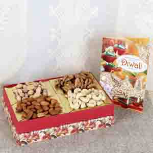 Dry Fruits-Assorted Dry fruit with Diwali Greeting Card