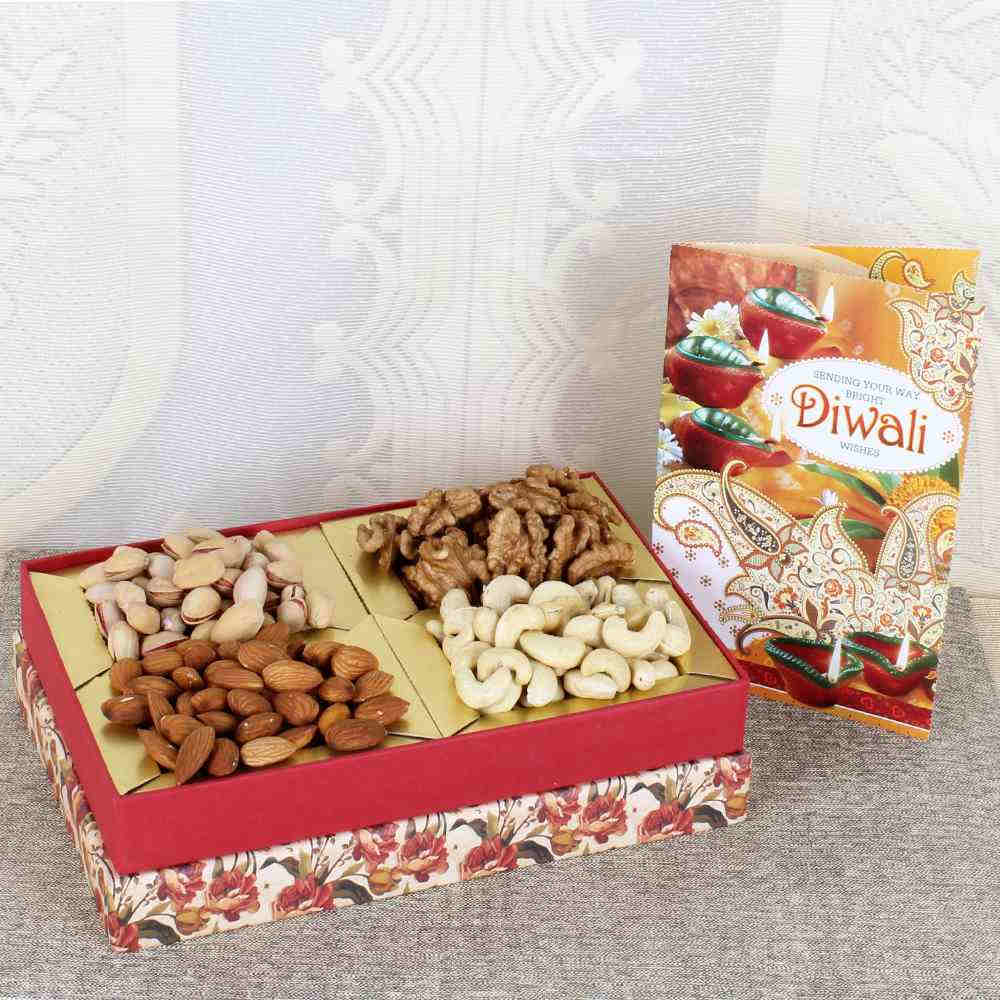 Assorted Dry fruit with Diwali Greeting Card