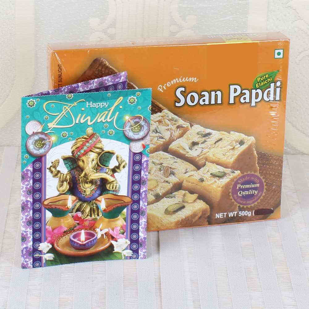 Diwali Greeting Card with Soan Papdi Box