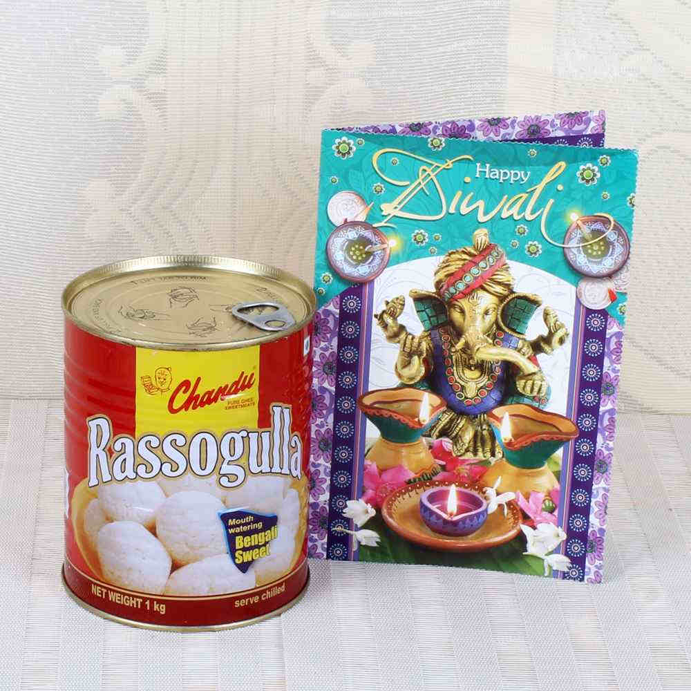 Rasgulla Sweets with Diwali Greeting Card