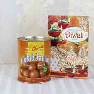 Diwali Mithai-Gulab Jamun Sweets with Diwali Greeting Card