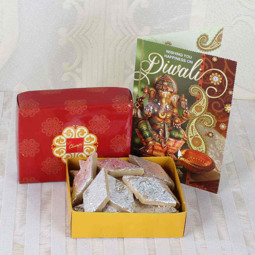 Diwali Kaju Katli Box with Greeting Card