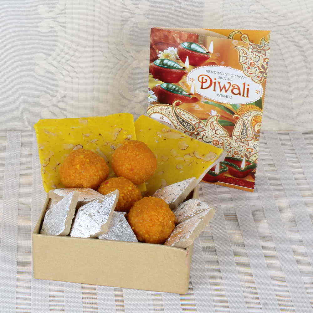 Assorted Sweets Box with Greeting Card for Diwali