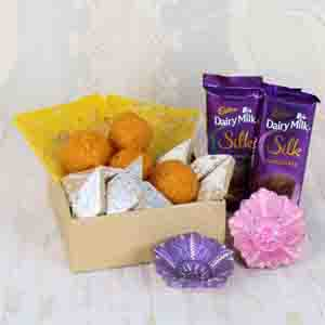 Floral Hampers-Assorted Sweets Box and Silk Chocolate