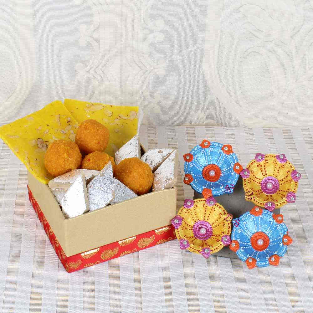Diwali Gift of Assorted Sweets with Earthen Diyas