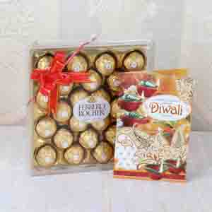 Floral Hampers-Diwali Greeting Card with Ferrero Rocher Chocolates