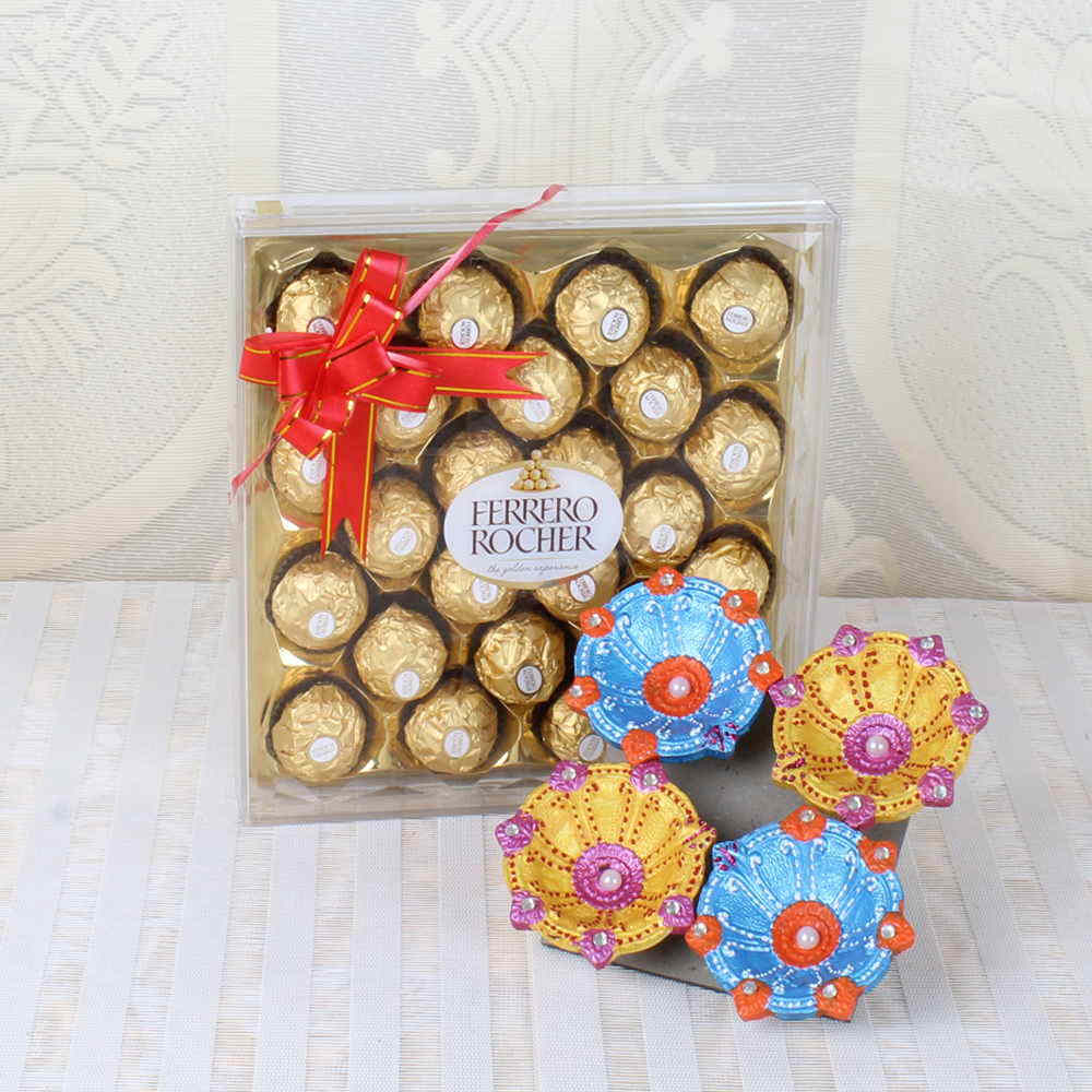 Diwali Diyas with Ferrero Rocher 24 Pieces